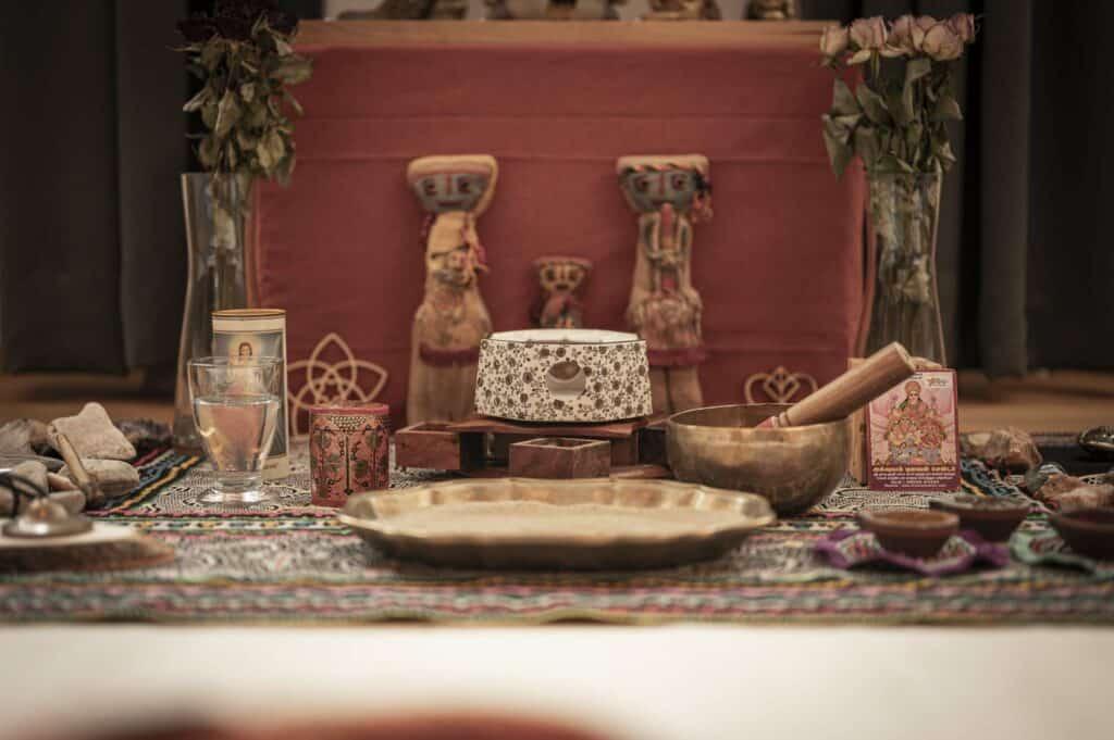 Ayahuasca Altar für die Zeremonie bei Ayavision Österreich