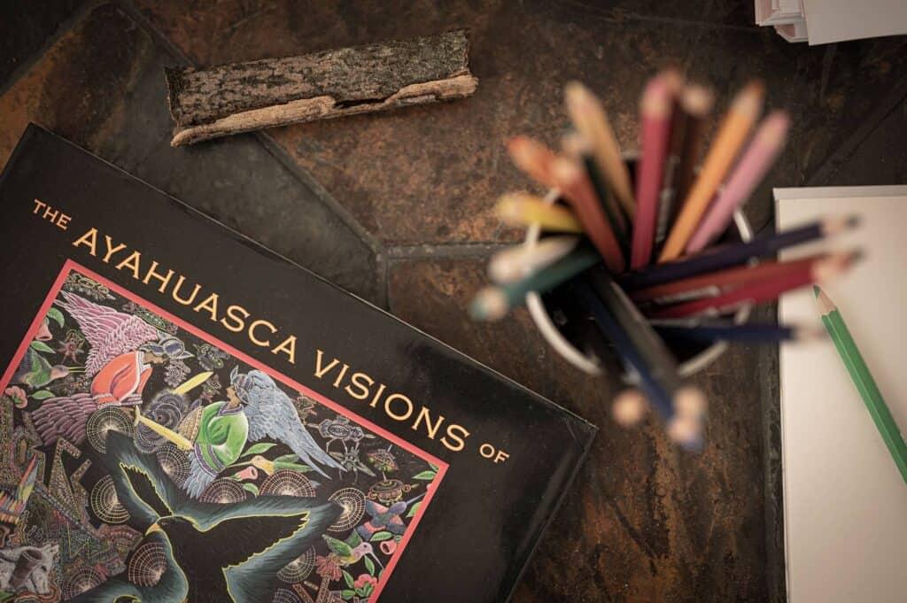 """Das Buch \""""the ayahuasca visions by Pablo Amaringo\"""" mit Buntstiften"""